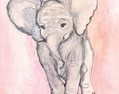Elephant Art Print: Pink Elelphant,  Limited Edition Print, Easy to Frame 11x14  inches on heavy paper