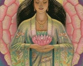 "Goddess Kuan Yin female Buddha art poster spiritual Kwan Zen meditation ""Pink Lotus Heart"" print of painting by Sue Halstenberg"