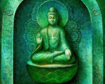 Green Buddha spiritual art meditation Zen Buddhist Buddhism matted print of painting by Sue Halstenberg