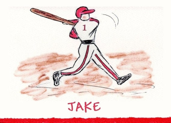 Baseball Player in Red  set of five note cards (red deckle edge not available)