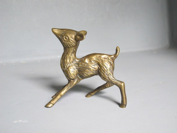 Vintage Brass Deer Figurine / Darling Brass Fawn Statue / Small Solid Brass Bambi Sculpture, Cast Metal Paperweight, Gold Tone Metal