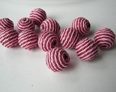 CUSTOM FOR KELLI pink/red striped paper beads - 15 - plus gold thread bonus beads