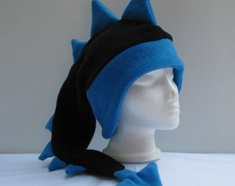 Fleece Dragon Hat - Black / Blue Mens Womens Dinosaur Hat by Ningen Headwear