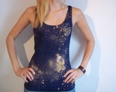 Navy Galaxy Top with clouds and stars SMALL