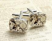 Steampunk Cufflinks Vintage Hamilton watch movements gears wedding anniversary Grooms gift formal wear silver cuff links men jewelry