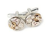 Steampunk Cufflinks vintage Bulova watch movements gears wedding anniversaryGrooms Gift silver cuff links mens jewelry Steampunk Nation 2986