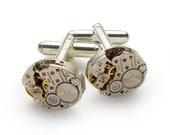 Steampunk Cufflinks Vintage Hamilton watch movements gears wedding anniversary Gift, Groom accessories, silver cuff links, men jewelry 2702
