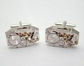 Steampunk Cufflinks Vintage Waltham Watch Movements Anniversary Wedding Gift, Grooms Silver Cuff Links Mens jewelry Steampunk Nation 29844