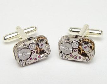 Steampunk Cufflinks Rare Antique Girard Perregaux watch movements wedding Groom Gift silver vintage mens cuff links Steampunk Jewelry