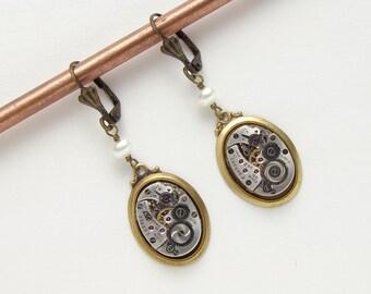 Steampunk Earrings Vintage silver watch movements gears Victorian gold Drop Dangle Earrings pearl Wedding womens Gift Steampunk Jewelry