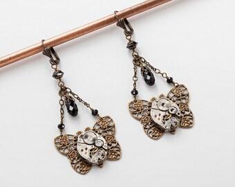 Steampunk Earrings Steampunk jewelry vintage silver watch movements flower  black crystal Drop gold filigree butterfly Dangle Earrings Gift