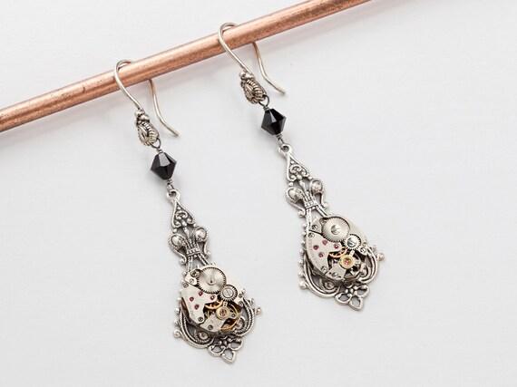Steampunk Earrings vintage watch movements gears silver filigree black Swarovski crystal wedding Gift drop dangle earrings Steampunk Jewelry