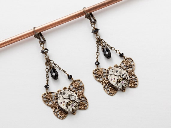 Steampunk Earrings Steampunk jewelry vintage silver watch movements flower  black crystal Drop gold filigree butterfly Dangle Earrings Gift