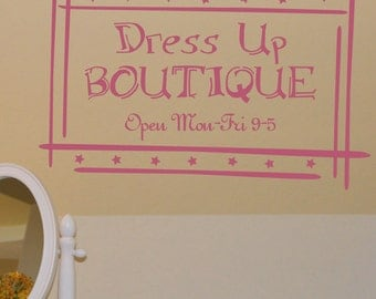 Dress Up Boutique wall decal, Girl bedroom, Playroom decal, Girls room decor, fashion diva vinyl lettering VR0428