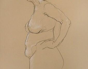 Original figure drawing female in red, Framed