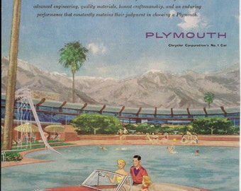 1953 PLYMOUTH CONVERTIBLE AUTOMOBILE Advertisement, Vintage 1953 National Geographic Magazine Ad, Original Page