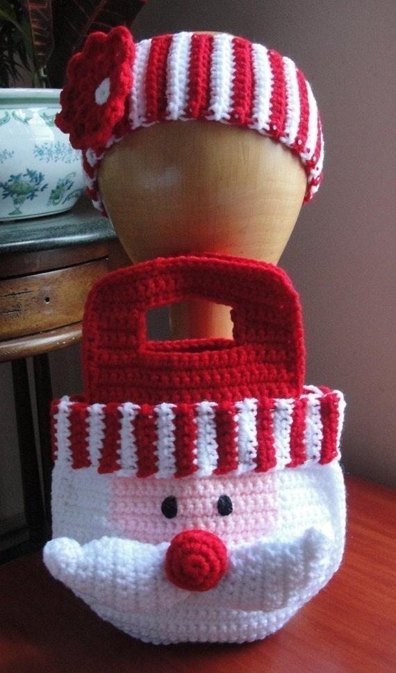 Girl's Santa Crochet Pattern Christmas Purse Bag and Striped Headband with Flower