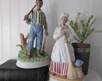 vintage Black Americana Couple figurines by Empress by Haruta . 2 large figural statues. Rare, hard to find set.