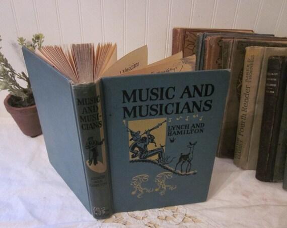 vintage 1939 Music and Musicians book, Lynch and Hamilton, shabby charm, aqua blue HC hard cover