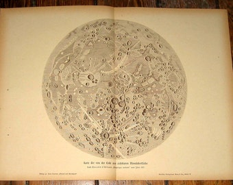 1900 FULL MOON print original antique celestial astronomy lithograph