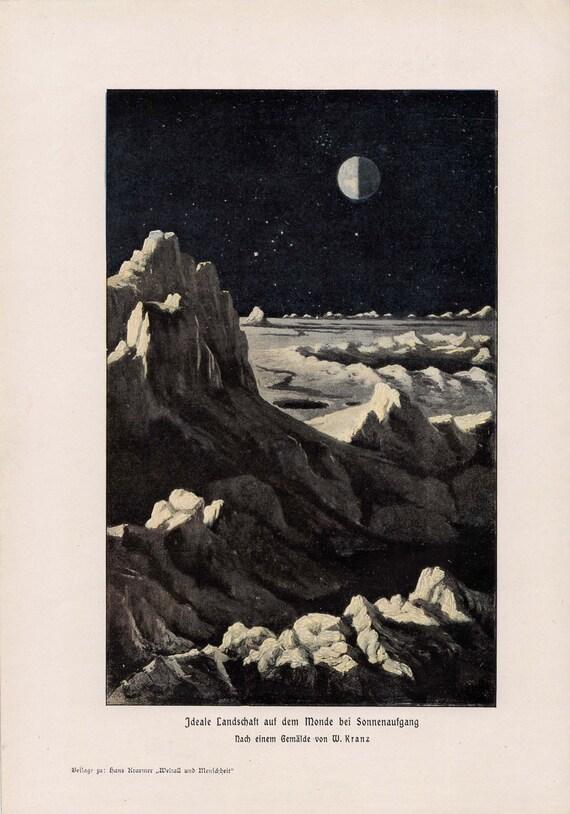 1900 earth view from the moon original antique celestial lunar print no 1