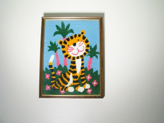 vintage Needlepoint Tiger, Striped Cat in a Jungle, Children