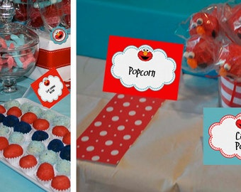 Elmo Sesame Street Candy Table Buffet Label Party Printable - Stick to Your Story