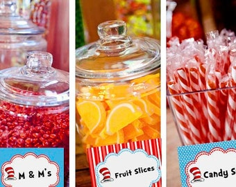 Dr. Seuss Candy Table Buffet Label Party Printable - Stick to Your Story