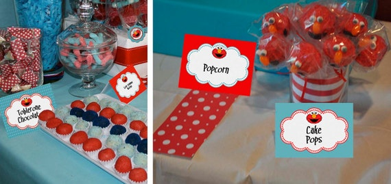 Printable Candy Buffet Food Labels - Elmo Sesame Street Birthday Baby Shower Party Line - STYS