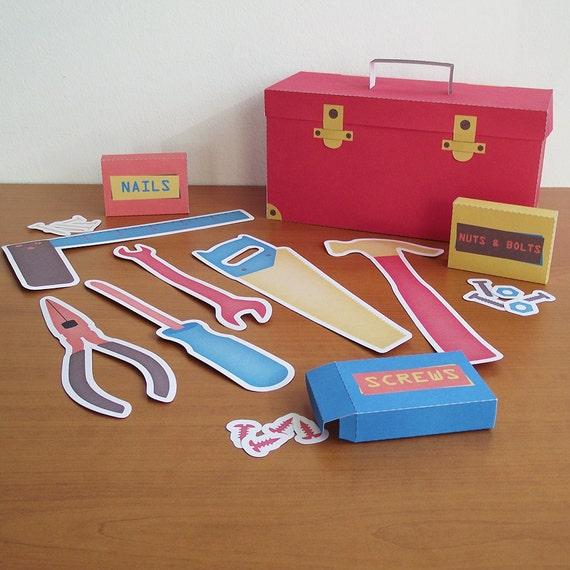 Printable carpenter kit pdf paper craft for Quality craft tool box