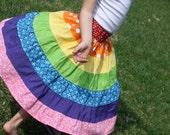 Roy G Biv RAINBOW long tiered twirl skirt, Size 2T - 7/8 Y, red orange yellow green blue purple pink