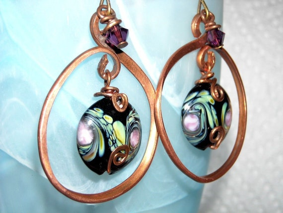 Hammered Copper Hoops with Rose Red Swirl Beads