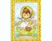 "UNUSED Vintage 1970s BRIGHT EYES Birthday  ""Sunshine""  Card - Strawberry Gatherer"