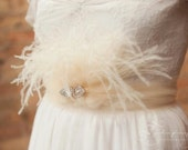 Parker style077 Ostrich feather and  tulle rhinestone sash