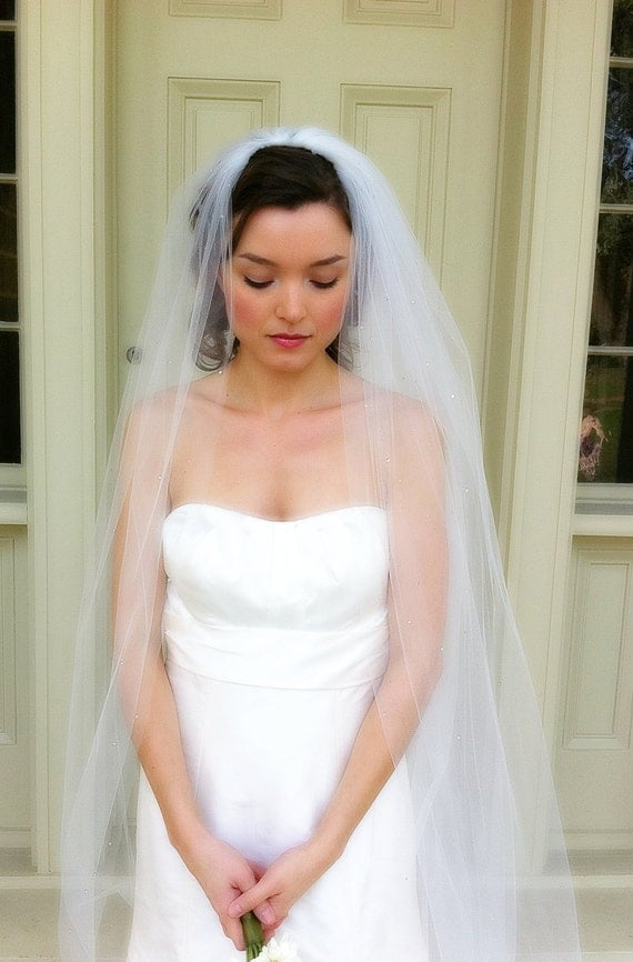 "RESERVED For Diana! Lily style006 Cathedral length 108"" & Blusher Veil 38"""