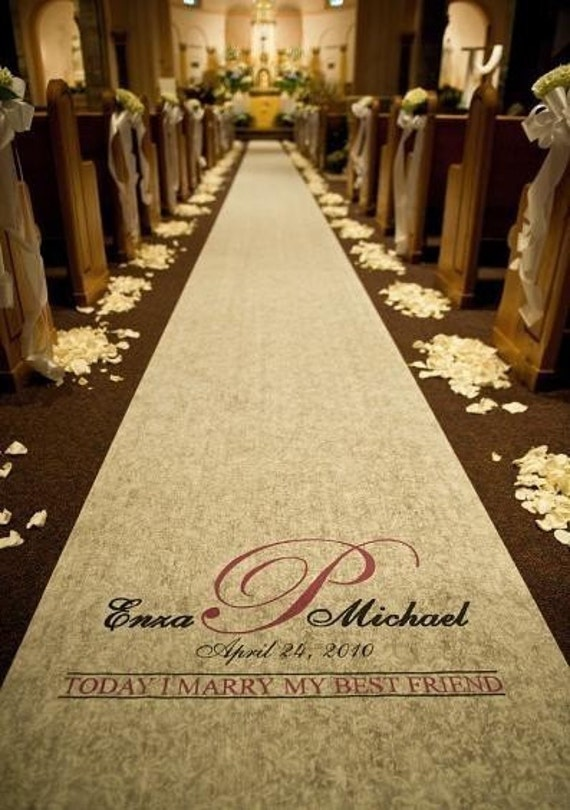 Wedding Aisle Runner Personalized Ivory By Customaisle On Etsy