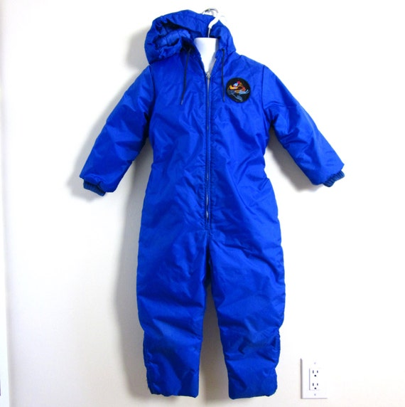 Sale // Childs Size 7 Royal Blue Hooded Snowsuit 60s / Sno-Mo-Beeler by Wonderalls