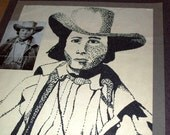 Dot Value Drawing of Cowboy/ Pony Express Rider - Original Vintage Art - OOAK - from the School Days Series