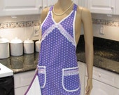 READY TO SHIP: retro style, full apron,Lavender/purple with white polka dots, with  a dish towel