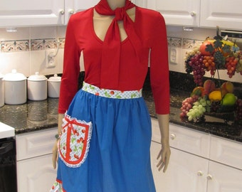 Half apron, solid blue with red cherries print and lace accents, one pocket