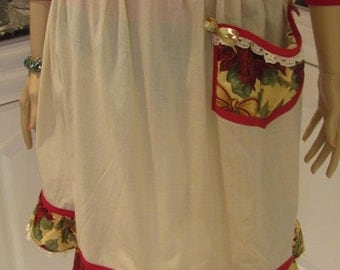 HOLIDAY PRINT HOSTESS apron, beige with dk. red pointsetta motif