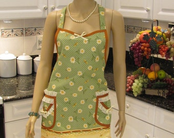 DESIGNER STYLE APRON : FullApron , modern style,[ All things grow with love daisy print], green, brown and yellow