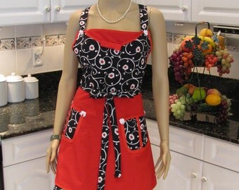 DOUBLE ,FULL APRON, Designer style,Modern,  in a black,red and white print with two pockets