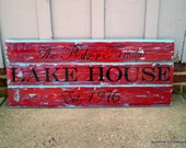 Lake House wood sign, 3 planked wood sign,Custom lake house sign, Lake house decor, Established year,best selling sign,