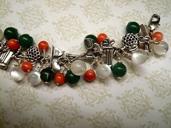 Golf Charm Beaded Theme Atheletic Ball Cliub Bracelet