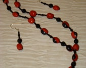Red and Black Huayruro Seed and Black Glass Necklace and Earring Set