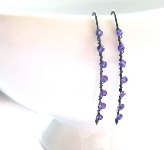 Amethyst Silver Earrings Purple Gemstone Wire Wrapped Oxidized Sterling Silver Contemporary Chic