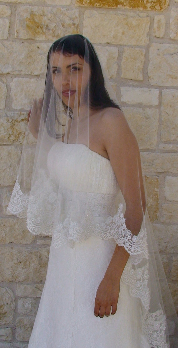 """Lace Bridal Veil, Drop style veil, face blusher , CATHEDRAL LENGTH 132"""", in Ivory White or Champagne"""