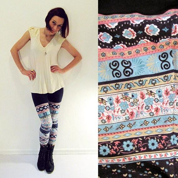 Shabby Chic handmade leggings - XS, S, M, L, XL - Cotton stripe patterned tights