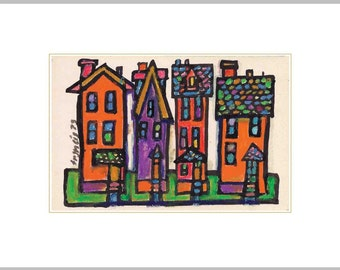 Whimsical Fine Art Print - City Houses Colorful Signed Limited Edition UPSTATE New York Neighborhood